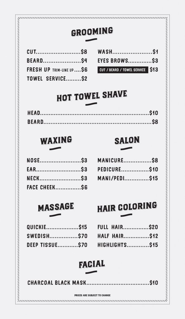 Fresh Up Barber Price list