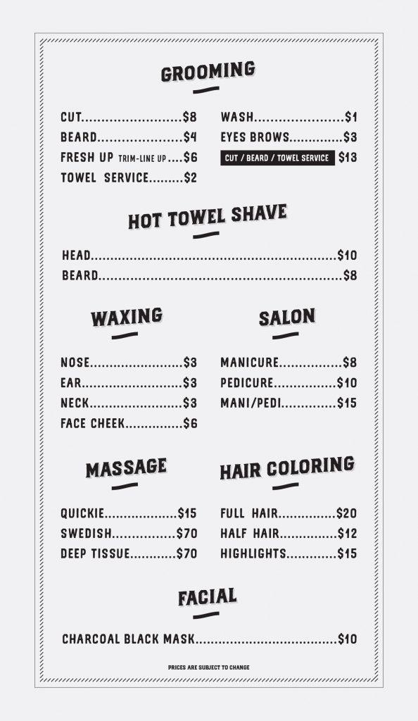 Fresh Up Barber Price list