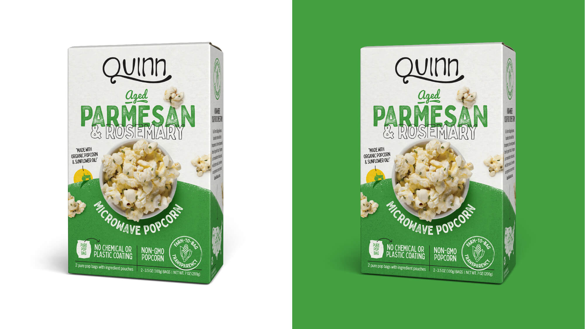 Quinn Popcorn Packaging - Aged Parmesan & Rosemary