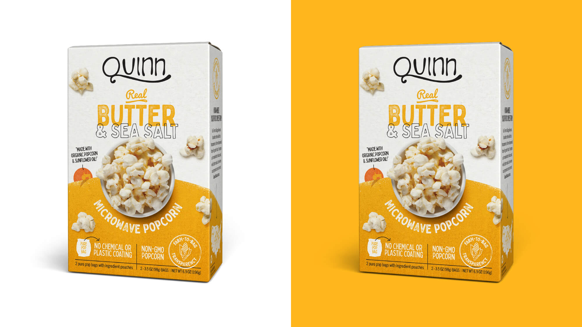 Quinn Popcorn Packaging - Real Butter