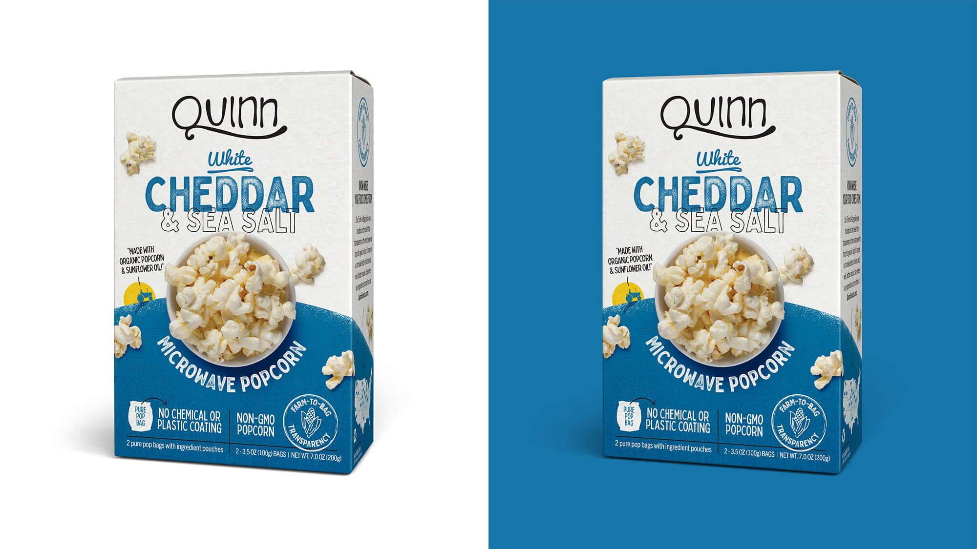 Quinn Popcorn Packaging - White Cheddar & Sea Salt