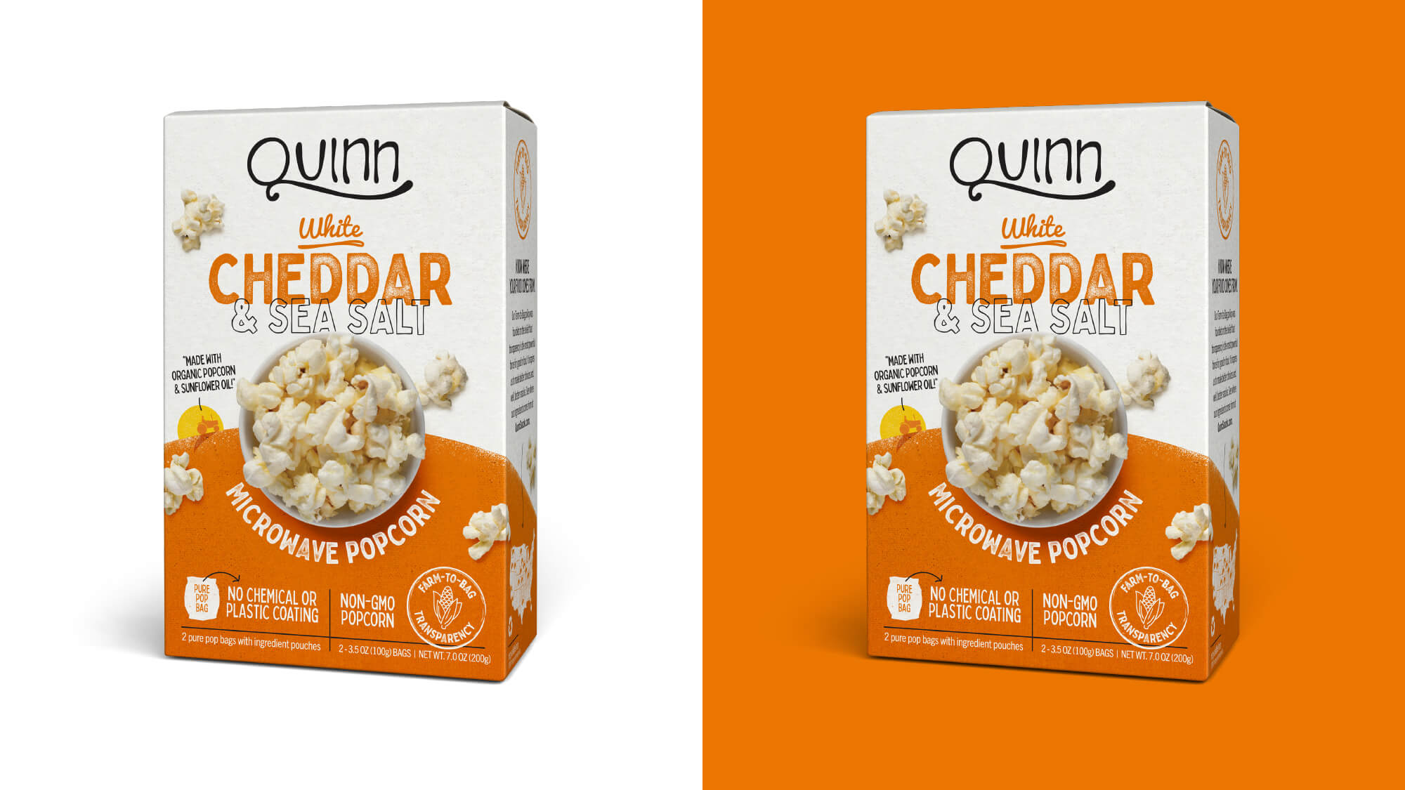 Quinn Popcorn Packaging - White Cheddar