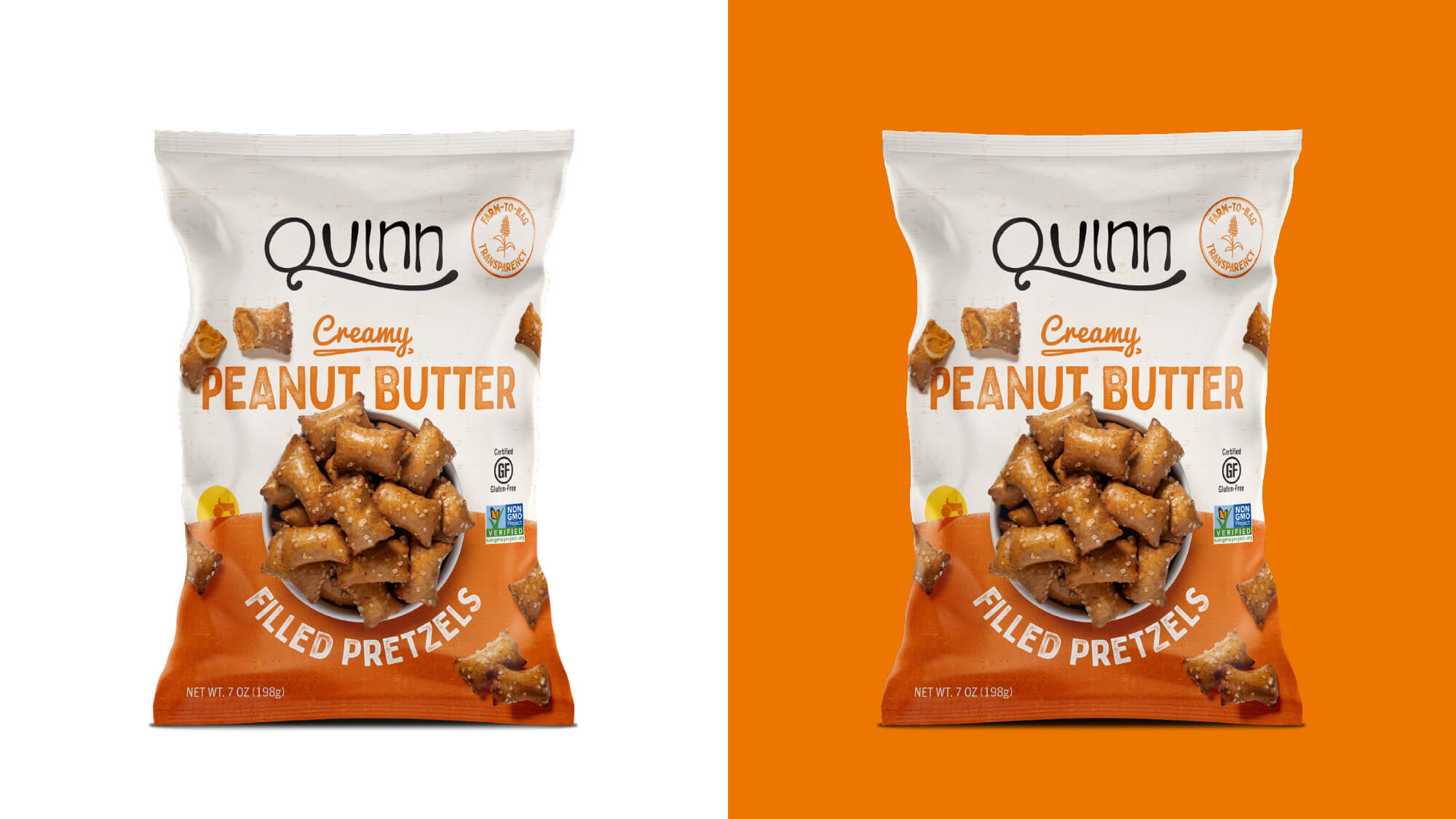 Quinn Pretzels Packaging - Creamy Peanut Butter Filled Pretzels