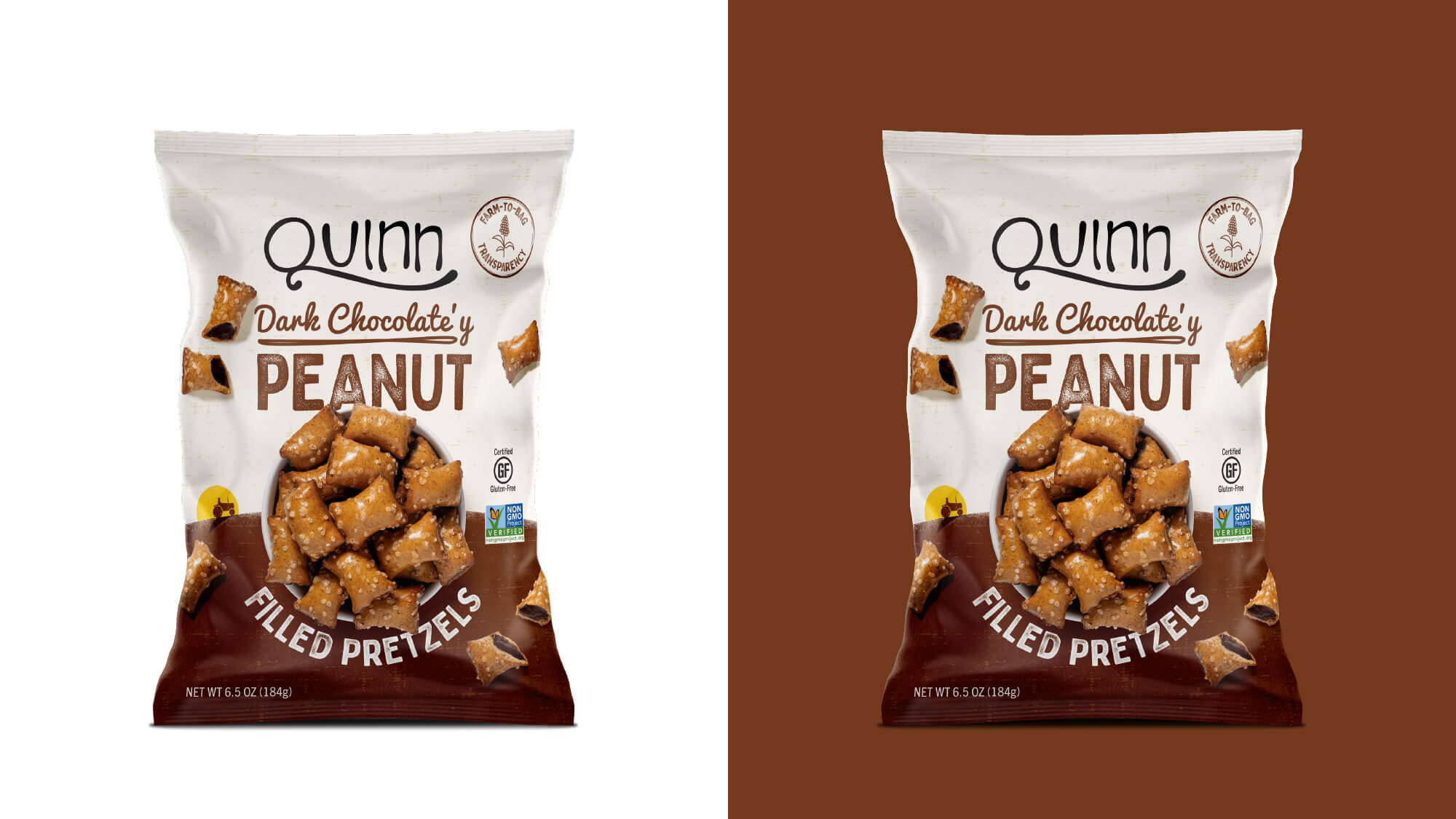 Quinn Pretzels Packaging - Dark Chocolate'y Filled Pretzels