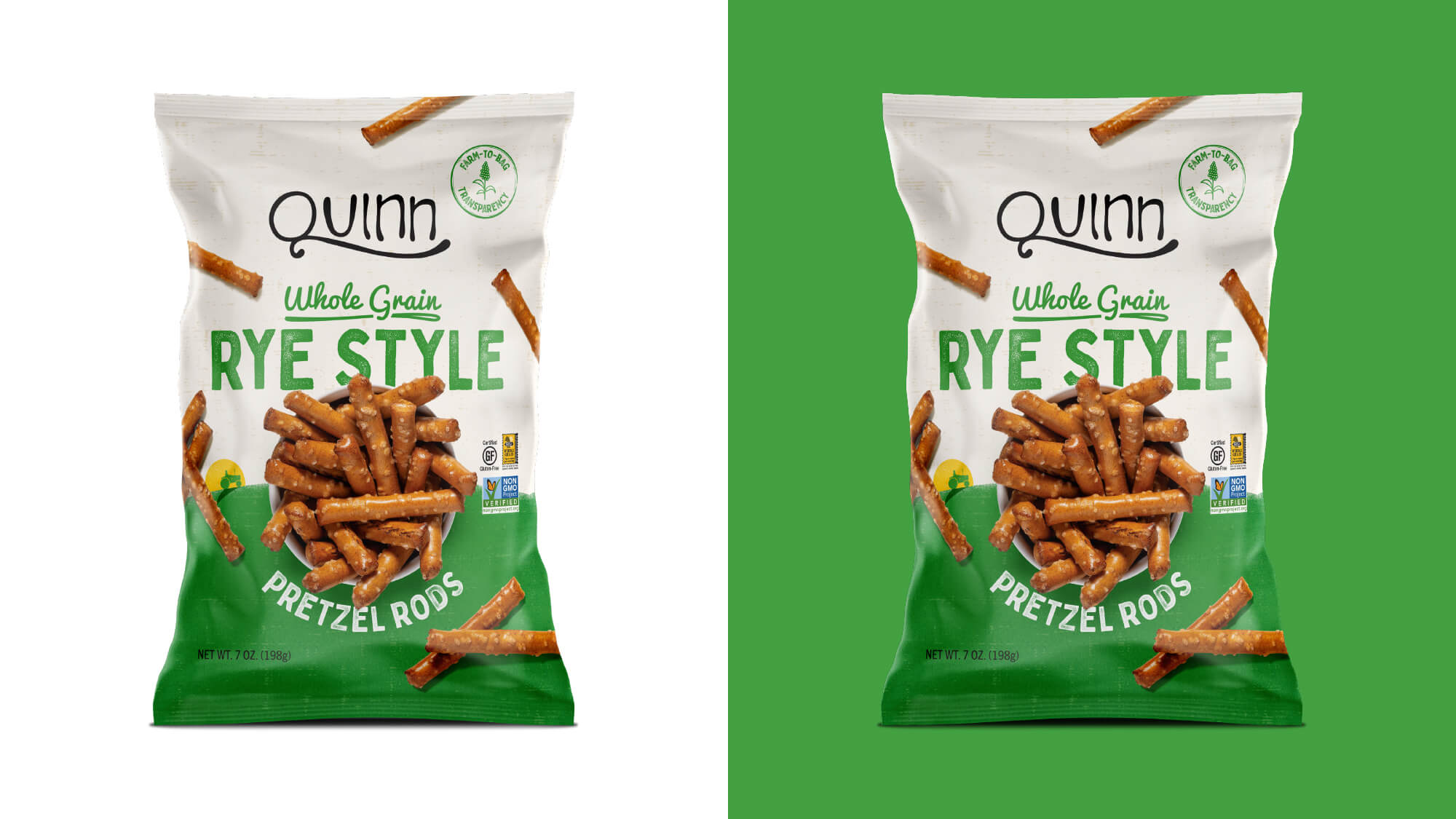 Quinn Pretzels Packaging - Whole Grain Rye Style Pretzel Rods