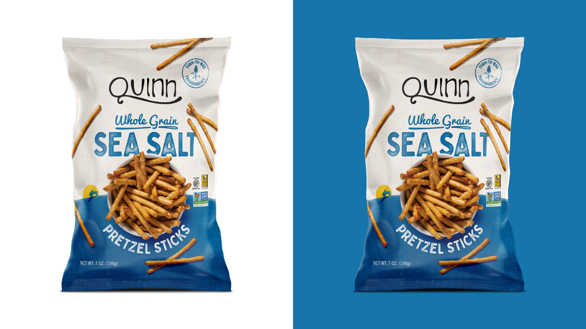 Quinn Pretzels Packaging - Whole Grain Sea Salt Pretzel Sticks