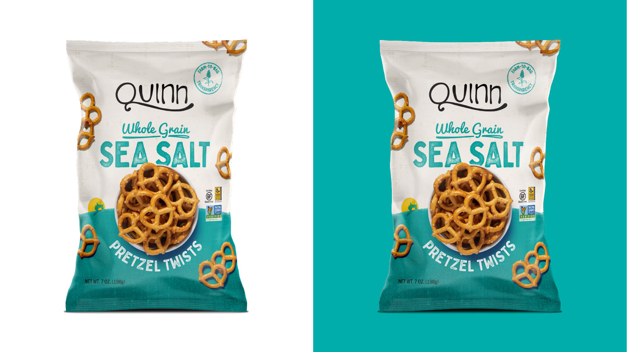 Quinn Pretzels Packaging - Whole Grain Sea Salt Pretzel Twists