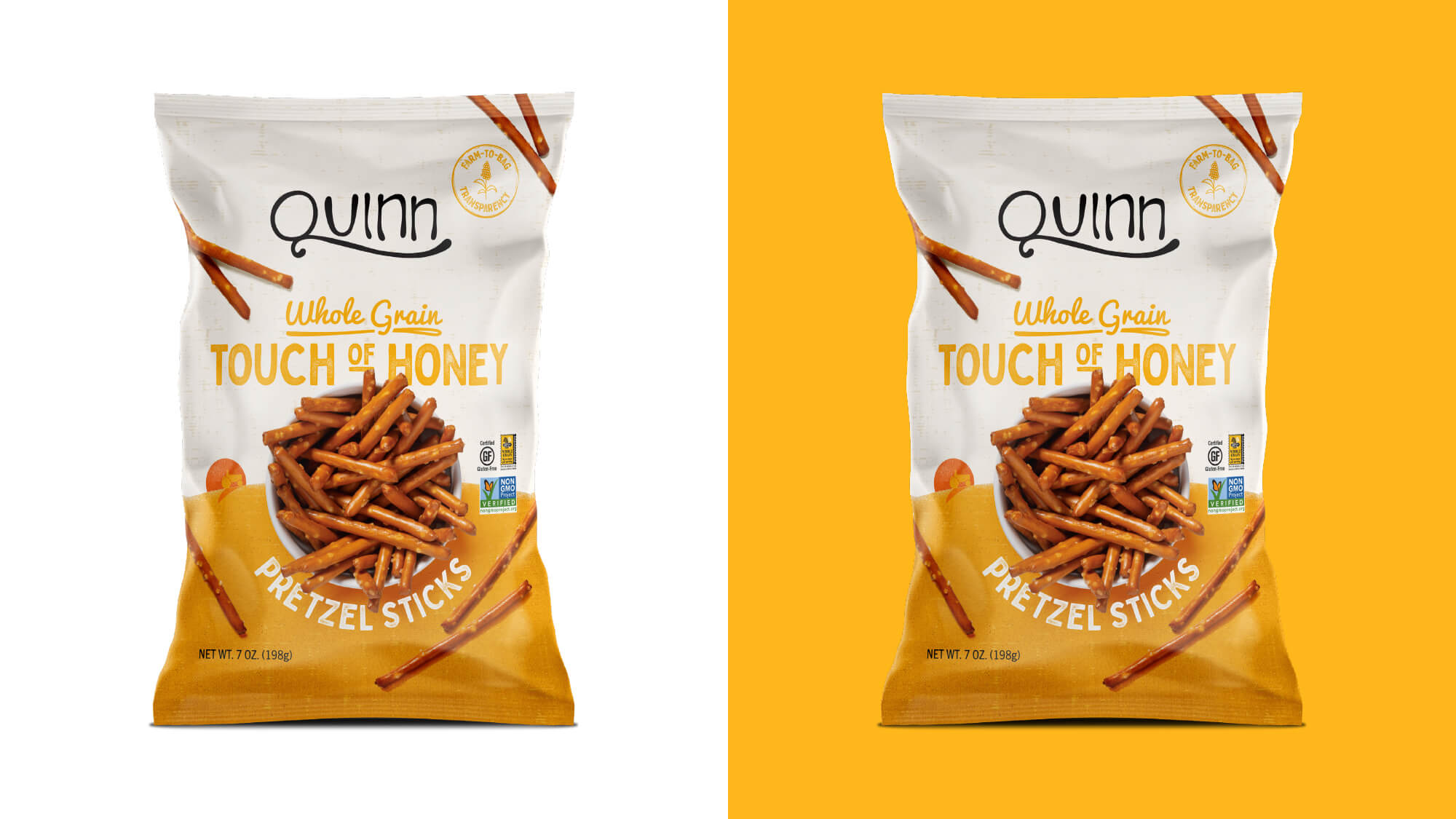 Quinn Pretzels Packaging - Whole Grain Touch of Honey Pretzel Sticks